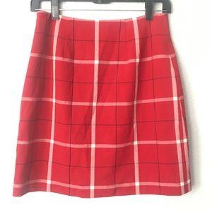 Ann Taylor Prep School Red White Plaid Mini Skirt